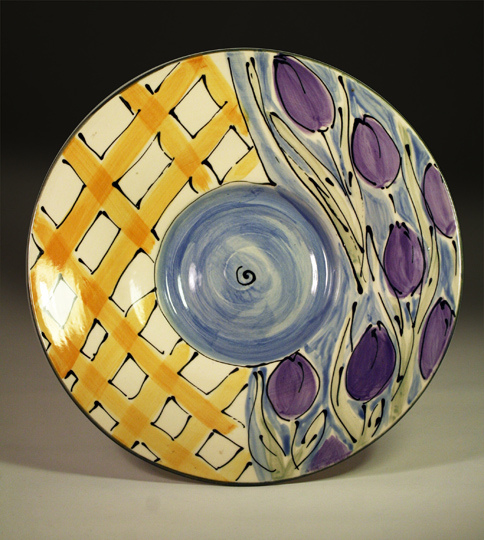 cori sandler sliptrailied and handpainted tulip platter