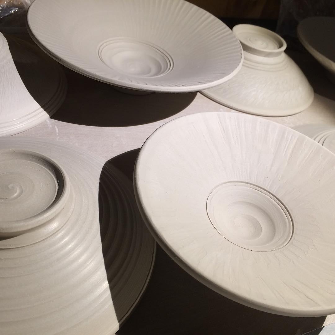 cori sandler flanged greenware bowls