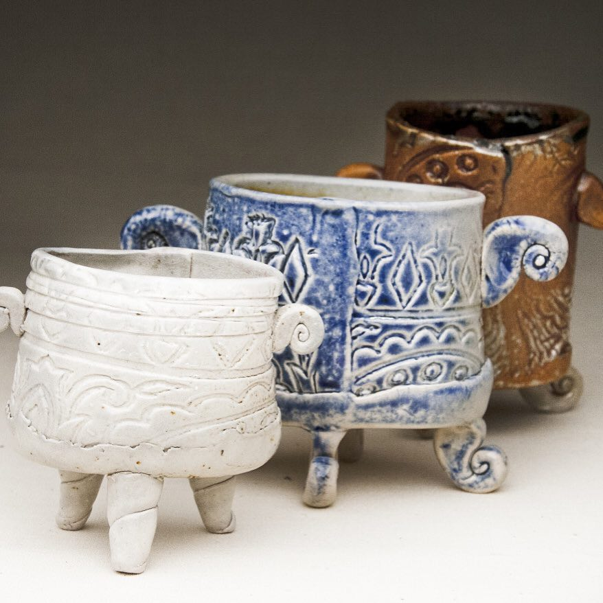 These little handbuilt vessels just kind of make me happy. I think it's he combination of the three feet and the attitude of the handles  Find me on by searching Cori Sandler Pottery and then follow the handle @CoriSandler