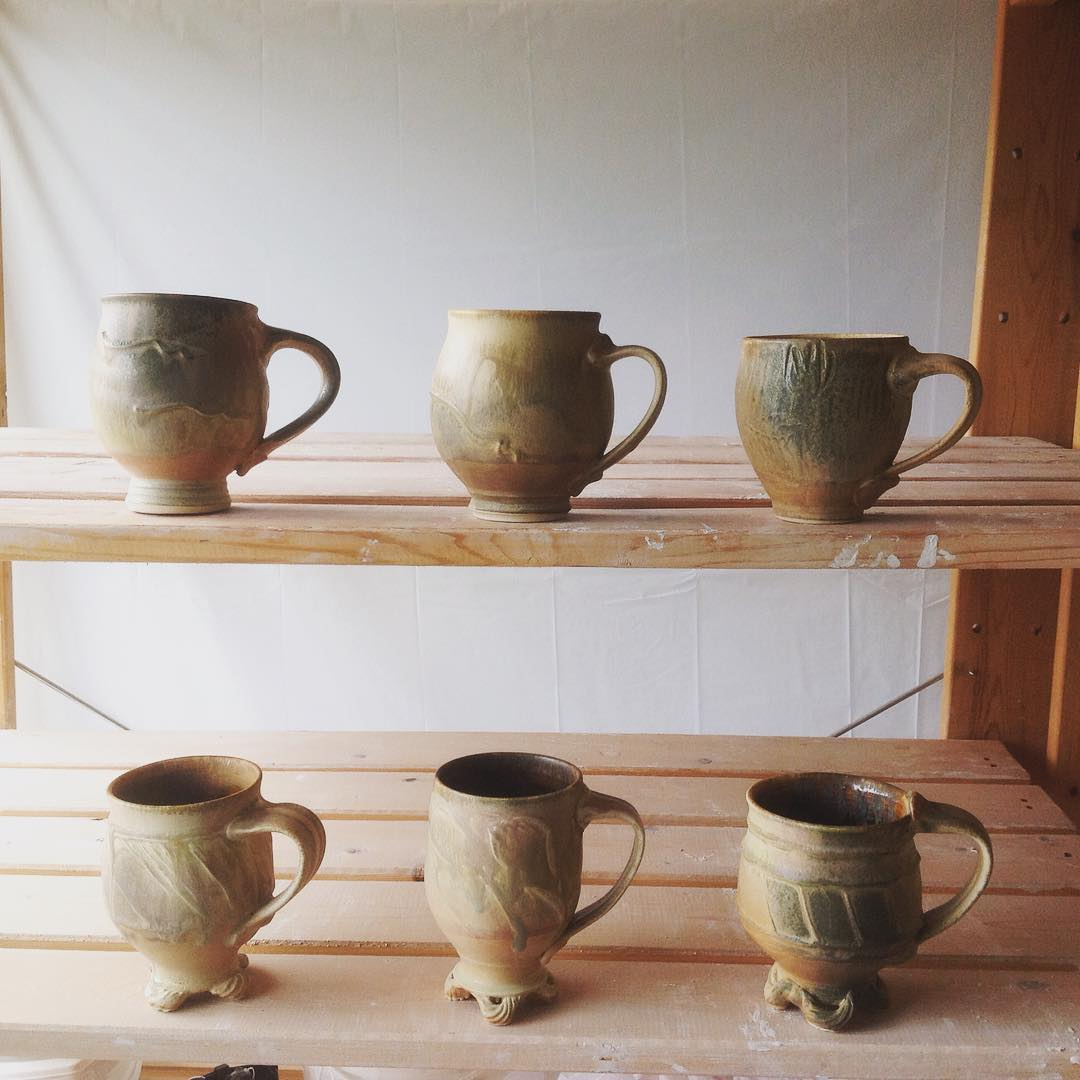 An assortment of mugs from a while back,  incorporating and @mugs  Please follow me @CoriSandler on - search for Cori Sandler Pottery