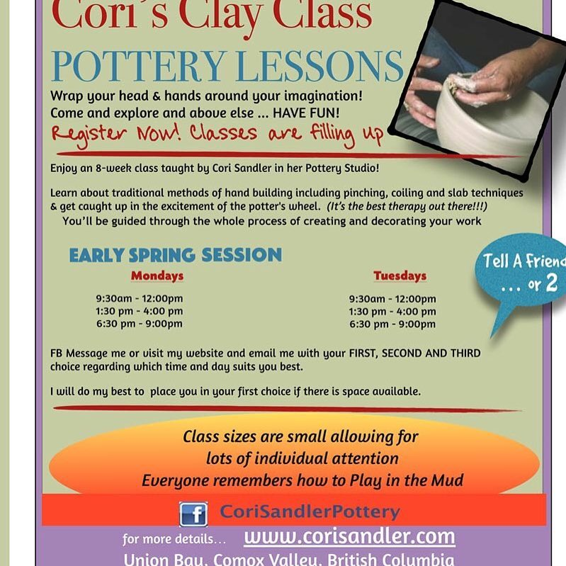 Pottery lessons in the  If you are in the comoxvalley BC or know someone who is and wants to take pottery lessons. I have some spaces still available. They can connect via my website www.corisandler.com. I also hold private one on one online classes via facetime and Skype. Do you need a refresher or are you having issues with your throwing???