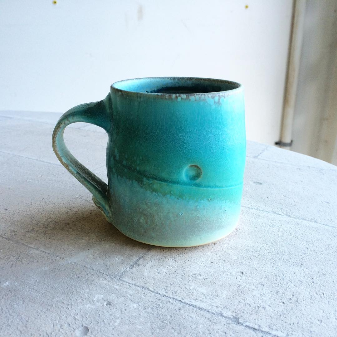 Time to start glazing a whole bunch of bisqued mugs. Some will be glazed like this, others... Stay tuned#
