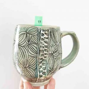 big leaf carved mug